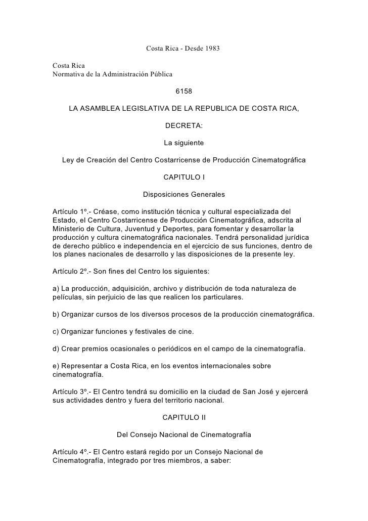 Costa Rica - Desde 1983  Costa Rica Normativa de la Administración Pública                                           6158 ...