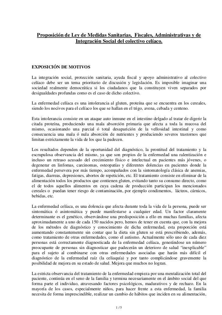 Proposición de Ley de Medidas Sanitarias, Fiscales, Administrativas y de                   Integración Social del colectiv...