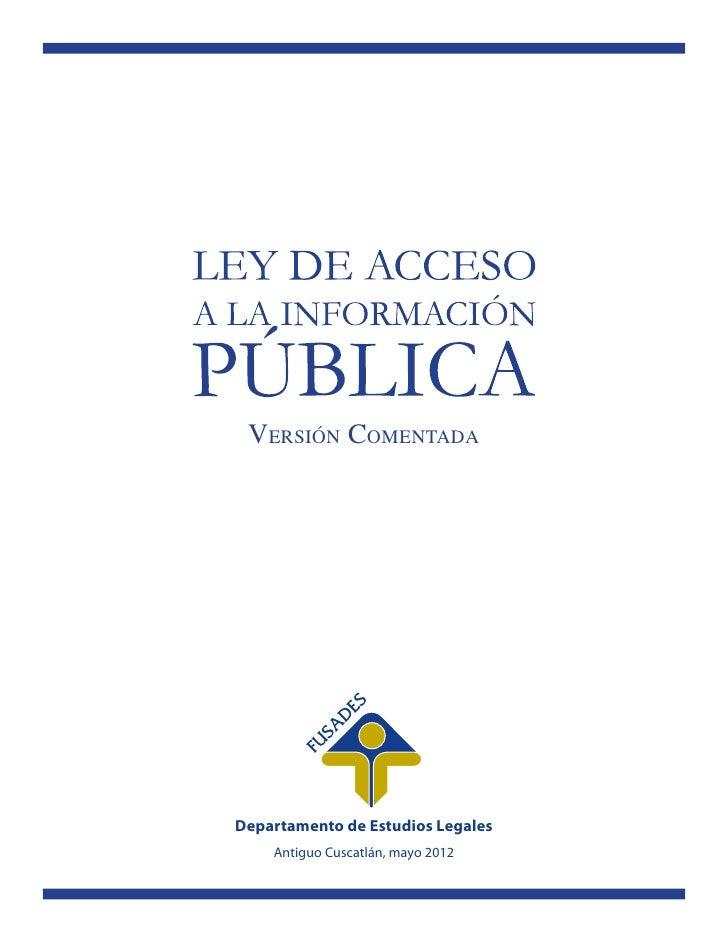 VERSIÓN COMENTADADepartamento de Estudios Legales    Antiguo Cuscatlán, mayo 2012