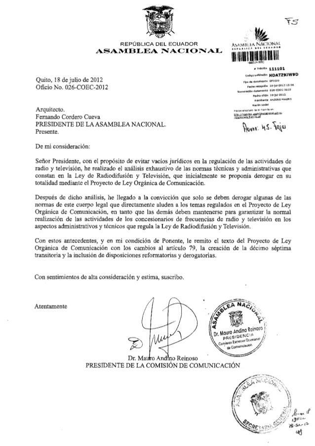 ASAMBLEA NACIO N A LQuito, 18 de julio de 2012Oficio No. Q26-COEC-2012H D A T Z 9 J W 9 DNuiTierndónArquitecto.Fernando Co...
