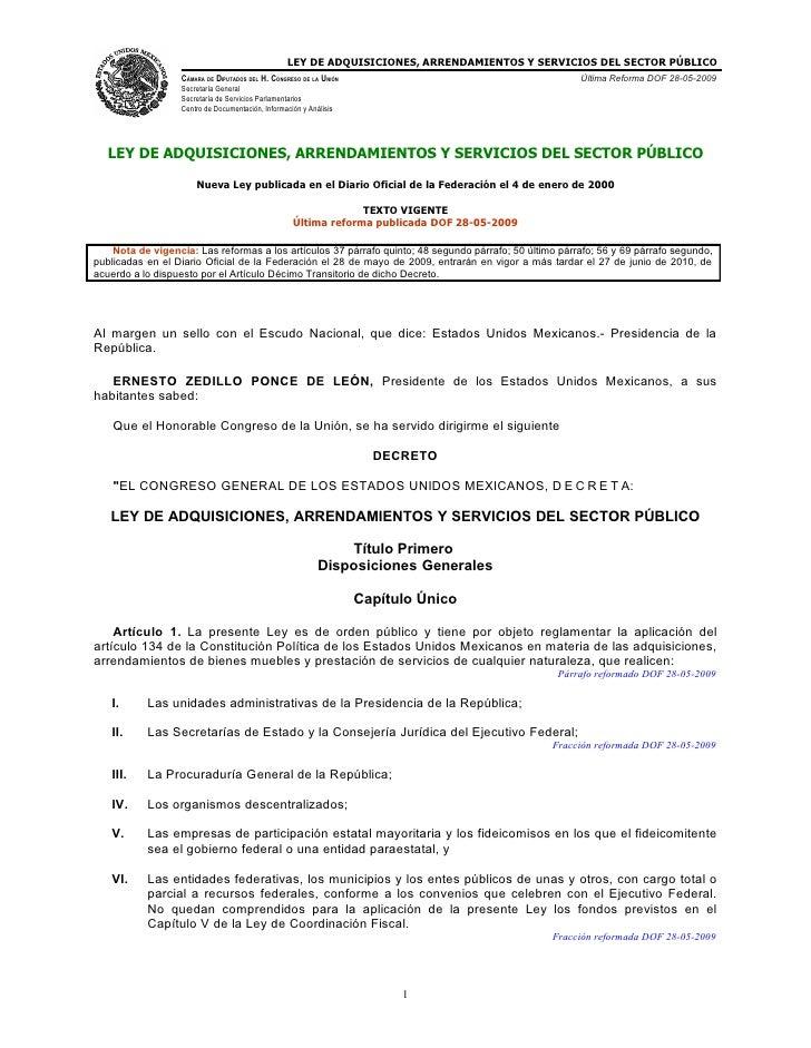 LEY DE ADQUISICIONES, ARRENDAMIENTOS Y SERVICIOS DEL SECTOR PÚBLICO                   CÁMARA DE DIPUTADOS DEL H. CONGRESO ...