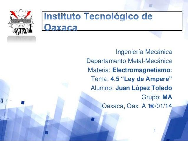 """Ingeniería Mecánica Departamento Metal-Mecánica Materia: Electromagnetismo: Tema: 4.5 """"Ley de Ampere"""" Alumno: Juan López T..."""