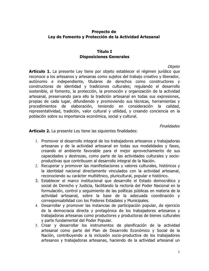 Proyecto de          Ley de Fomento y Protección de la Actividad Artesanal                                    Título I    ...