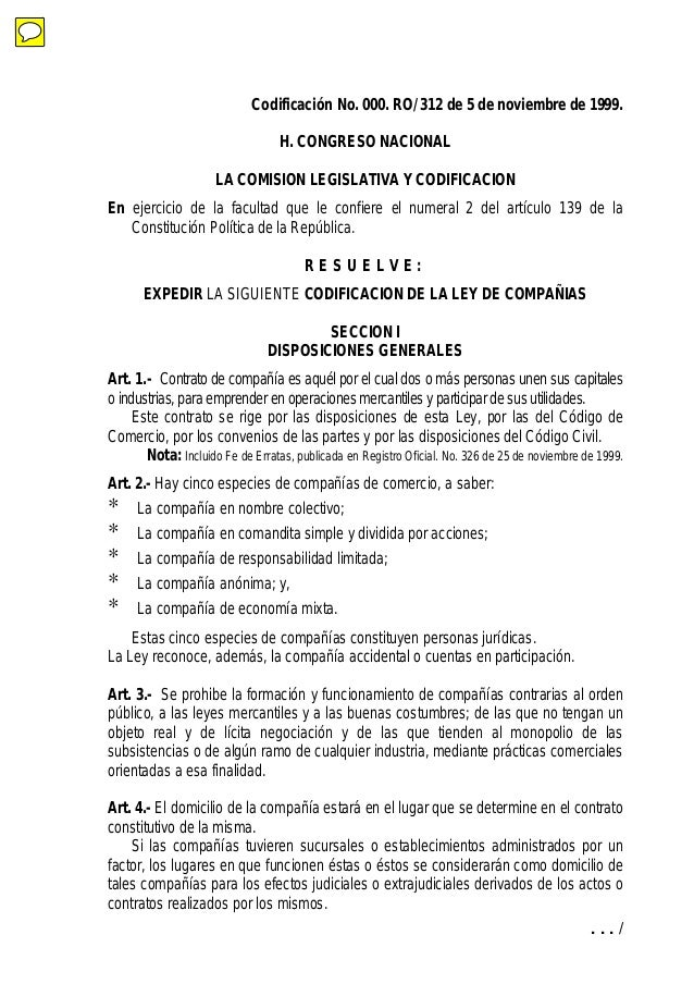 . . . / Codificación No. 000. RO/ 312 de 5 de noviembre de 1999. H. CONGRESO NACIONAL LA COMISION LEGISLATIVA Y CODIFICACI...