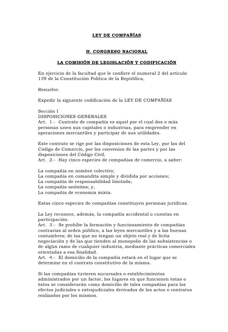 LEY DE COMPAÑÍAS                          H. CONGRESO NACIONAL           LA COMISIÓN DE LEGISLACIÓN Y CODIFICACIÓN  En eje...