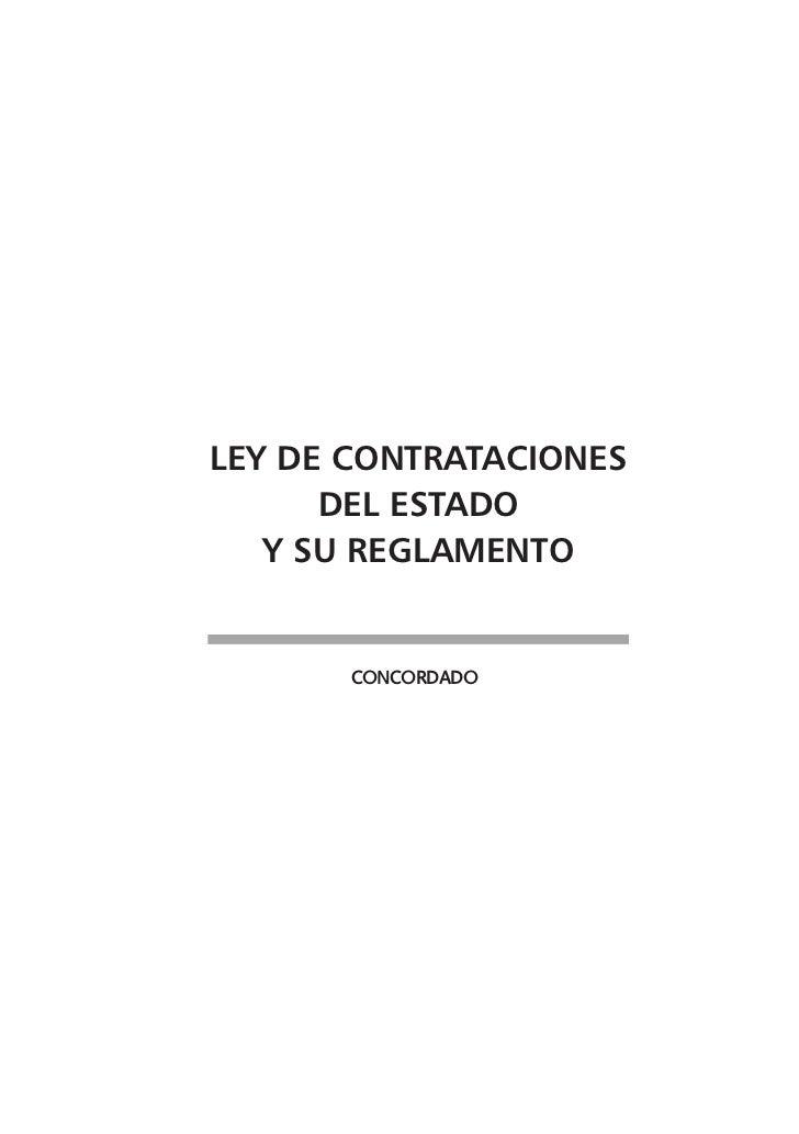 LEY DE CONTRATACIONES      DEL ESTADO   Y SU REGLAMENTO       Concordado
