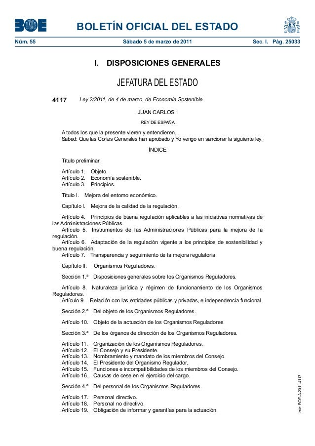 BOLETÍN OFICIAL DEL ESTADO  Núm. 55 Sábado 5 de marzo de 2011 Sec. I. Pág. 25033  I. DISPOSICIONES GENERALES  JEFATURA DEL...