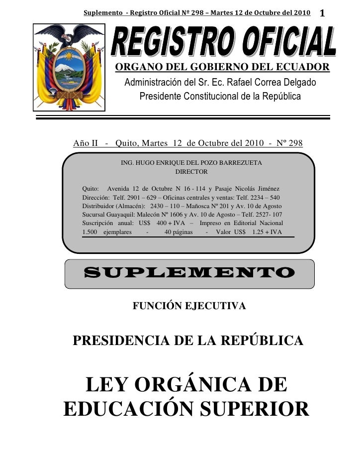 Suplemento - Registro Oficial Nº 298 – Martes 12 de Octubre del 2010          1              ORGANO DEL GOBIERNO DEL ECUAD...