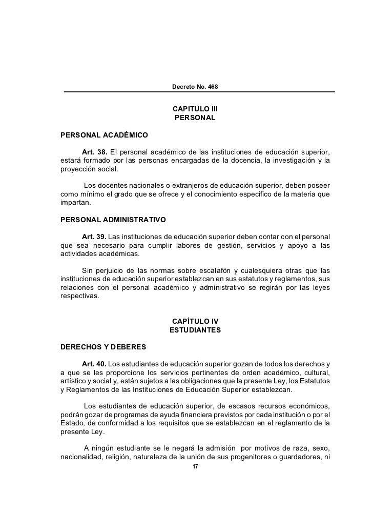 Decreto No. 468                                    CAPITULO III                                    PERSONALPERSONAL ACADÉM...