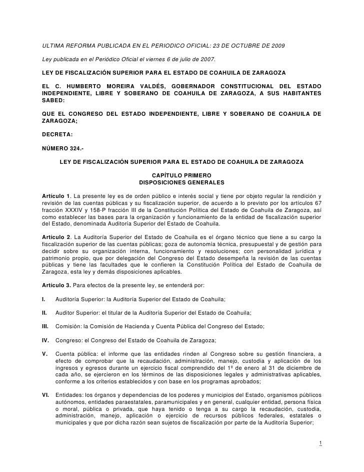 ULTIMA REFORMA PUBLICADA EN EL PERIODICO OFICIAL: 23 DE OCTUBRE DE 2009  Ley publicada en el Periódico Oficial el viernes ...