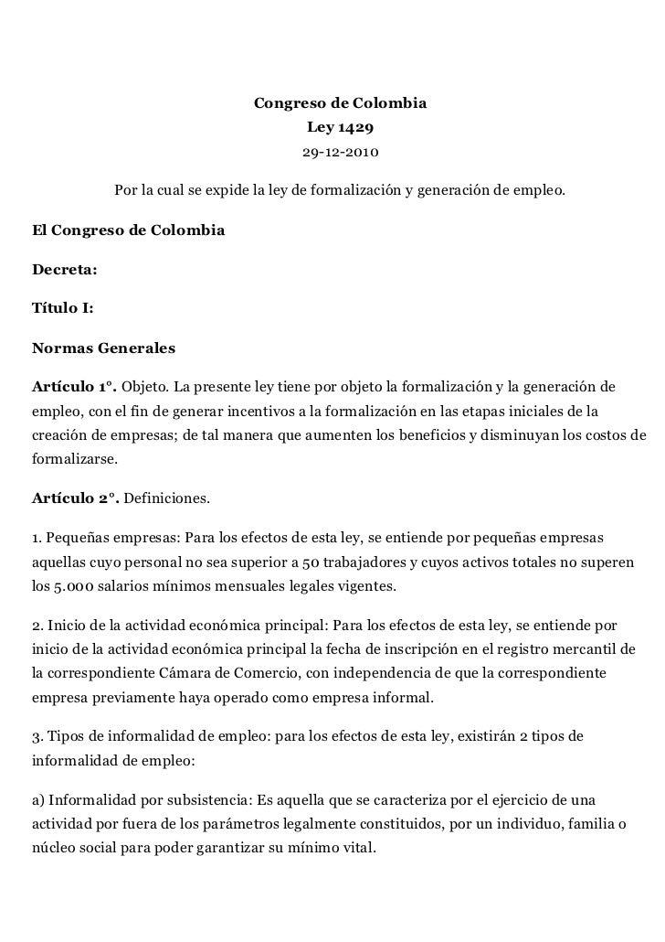 Congreso de Colombia                                           Ley 1429                                          29-12-201...
