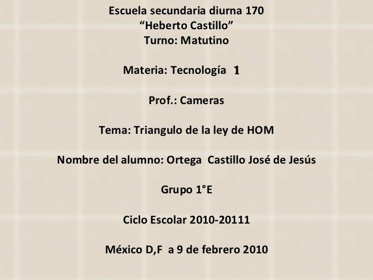 "Escuela secundaria diurna 170 "" Heberto Castillo"" Turno: Matutino Materia: Tecnología  1  Prof.: Cameras Tema: Triangulo d..."