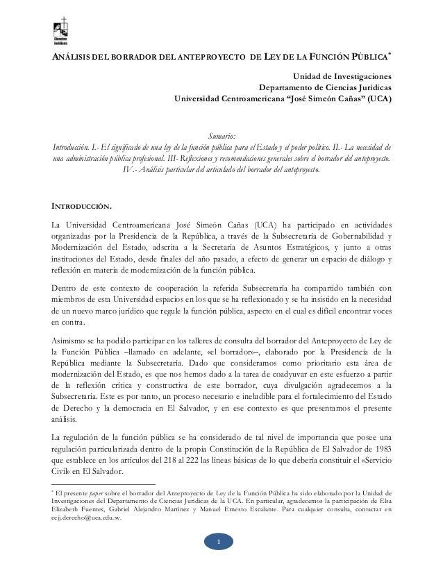 1 ANÁLISIS DEL BORRADOR DEL ANTEPROYECTO DE LEY DE LA FUNCIÓN PÚBLICA * Unidad de Investigaciones Departamento de Ciencias...