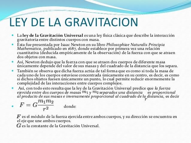 Ley de la gravitacion universal Slide 2