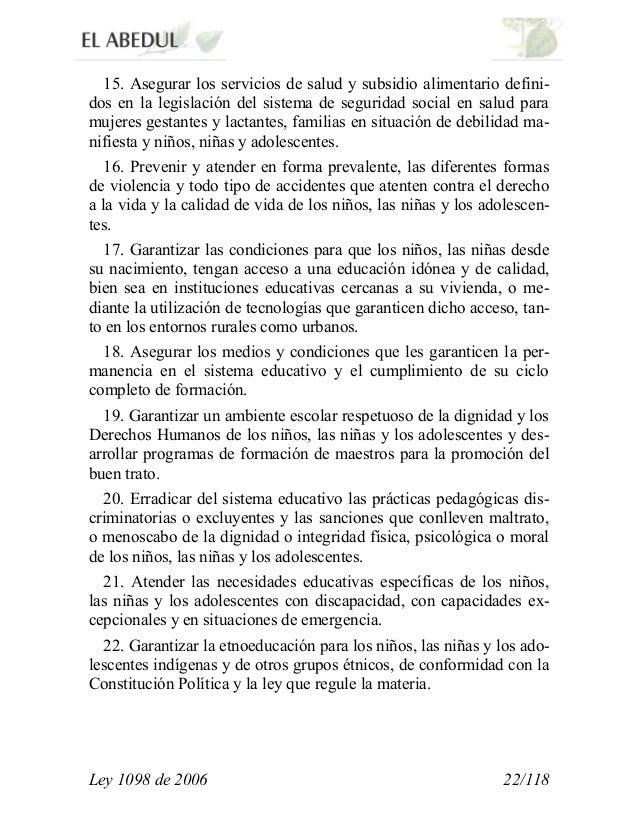 Ley de la infancia y la adolecencia 1098