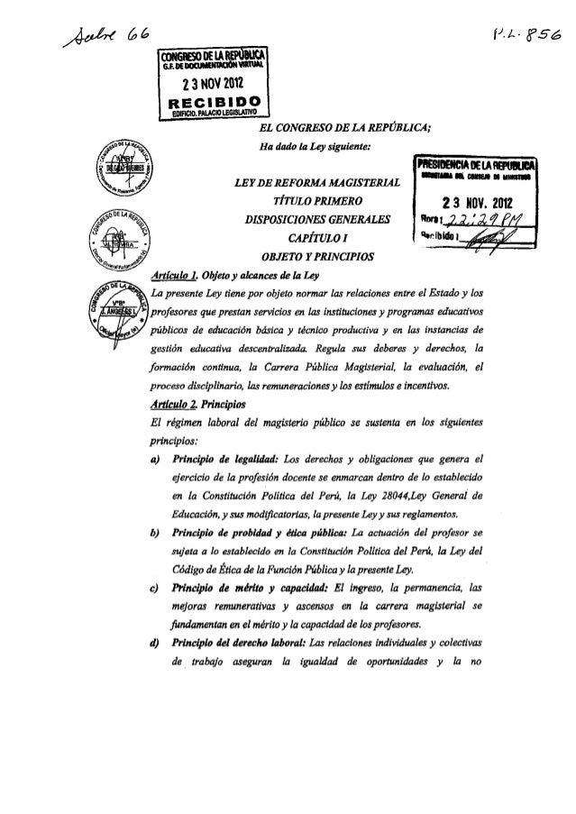 Ley de la reeforma magisterial  aprobada por el congreso de la republica 23 11-2012