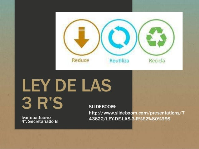 LEY DE LAS3 R'SIvanoba Juárez4º. Secretariado BSLIDEBOOM:http://www.slideboom.com/presentations/743622/LEY-DE-LAS-3-R%E2%8...