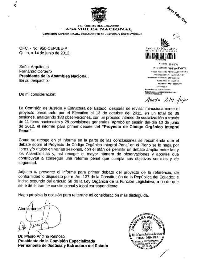 REPÚBLICA DEL ECUADOR A S A M B L E A N A C I O N A L Oficio No. MPR-2012-090 Quito, 27 de junio de 2012 Señor Arquitecto ...