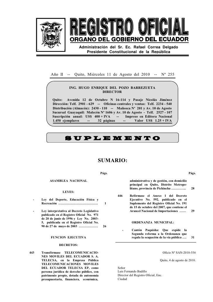 Administración del Sr. Ec. Rafael Correa Delgado                                    Presidente Constitucional de la Repúbl...