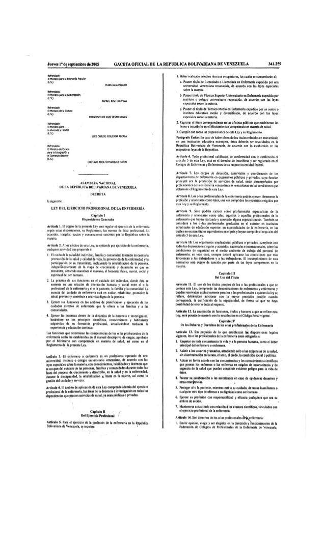 Ley del ejercicio profesional de la enfermería