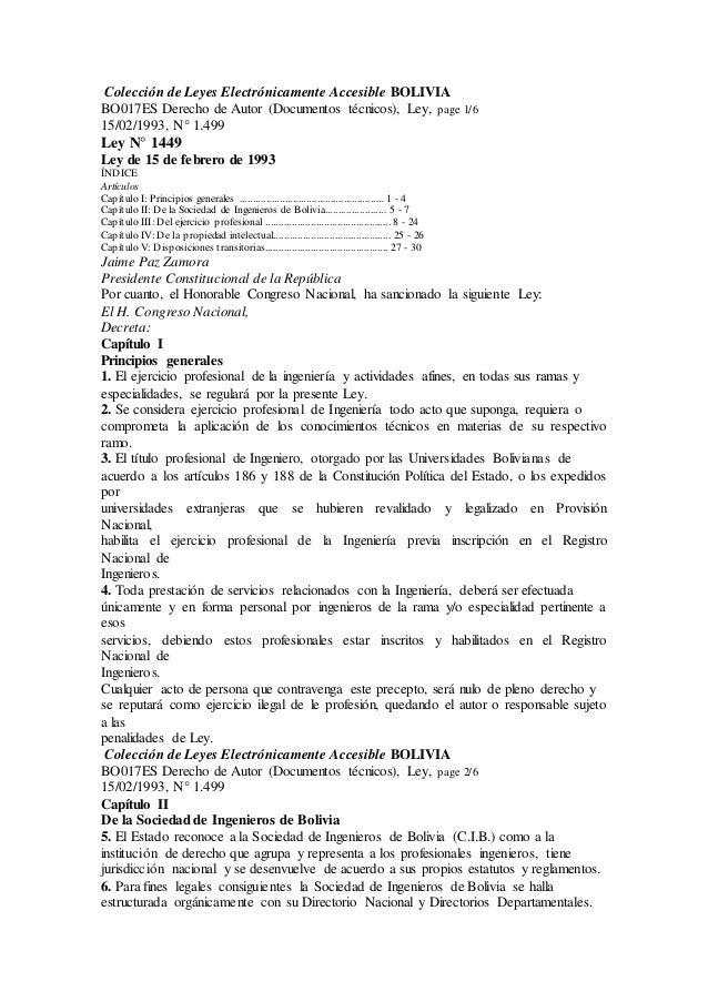 YH Colección de Leyes Electrónicamente Accesible BOLIVIA BO017ES Derecho de Autor (Documentos técnicos), Ley, page 1/6 15/...
