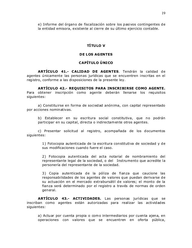 19      e) Informe del órgano de fiscalización sobre los pasivos contingentes de      la entidad emisora, existente al cie...