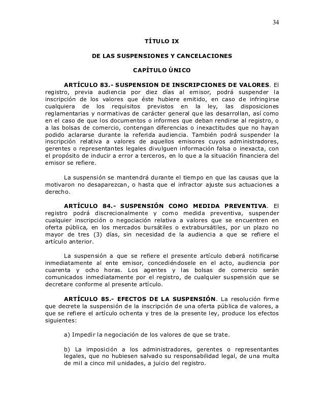 34                                   TÍTULO IX                DE LAS SUSPENSIONES Y CANCELACIONES                         ...