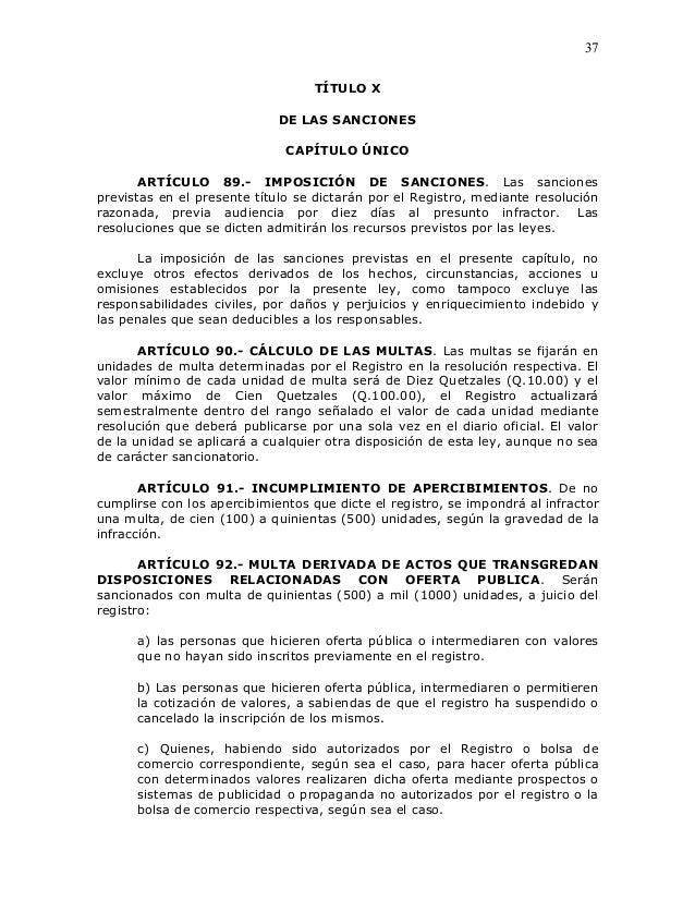 37                                   TÍTULO X                             DE LAS SANCIONES                              CA...