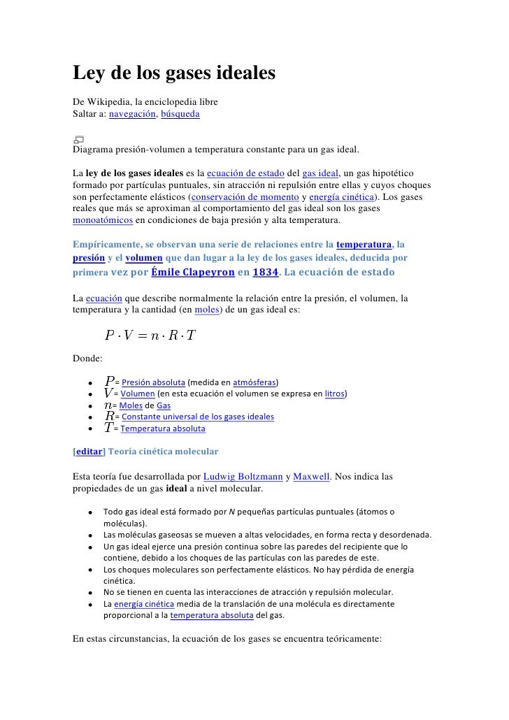 Ley de los gases ideales<br />De Wikipedia, la enciclopedia libre<br />Saltar a: navegación, búsqueda <br />Diagrama presi...