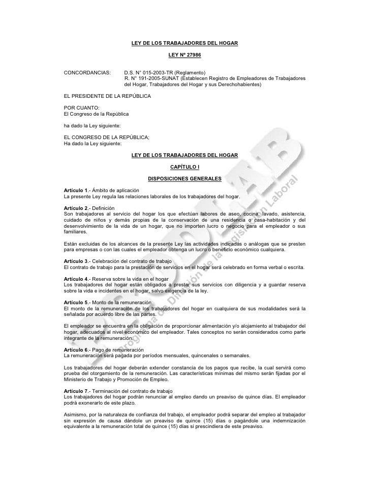 Ley de los trabajadores del hogar peru for Formulario trabajadores del hogar