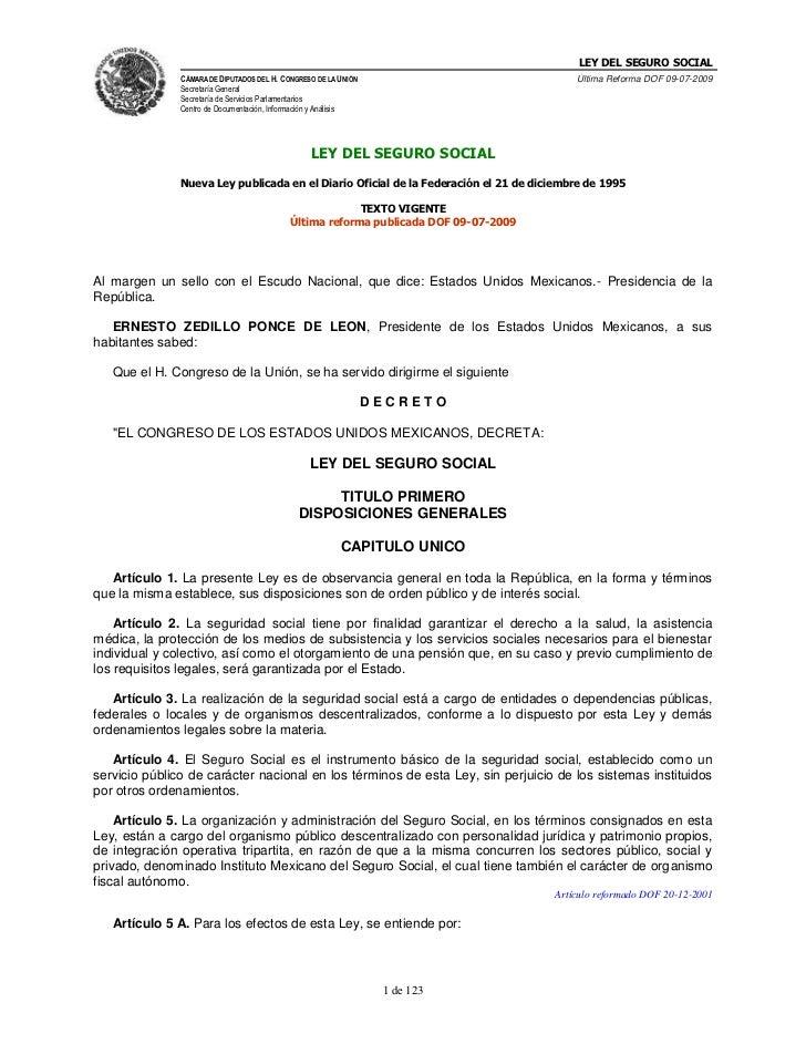 LEY DEL SEGURO SOCIAL<br />Nueva Ley publicada en el Diario Oficial de la Federación el 21 de diciembre de 1995<br />TEXT...