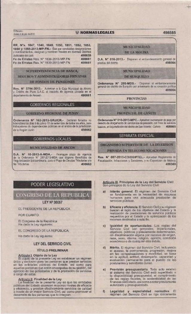 Ley N° 30057.- Ley del Servicio Civil