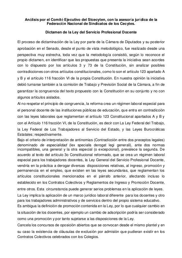 Análisis por el Comité Ejecutivo del Stcecyten, con la asesoría jurídica de la Federación Nacional de Sindicatos de los Ce...