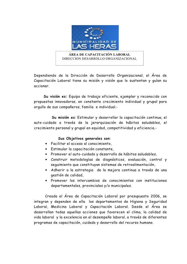 ÁREA DE CAPACITACIÓN LABORAL                 DIRECCION DESARROLLO ORGANIZACIONAL    Dependiendo de la Dirección de Desarro...