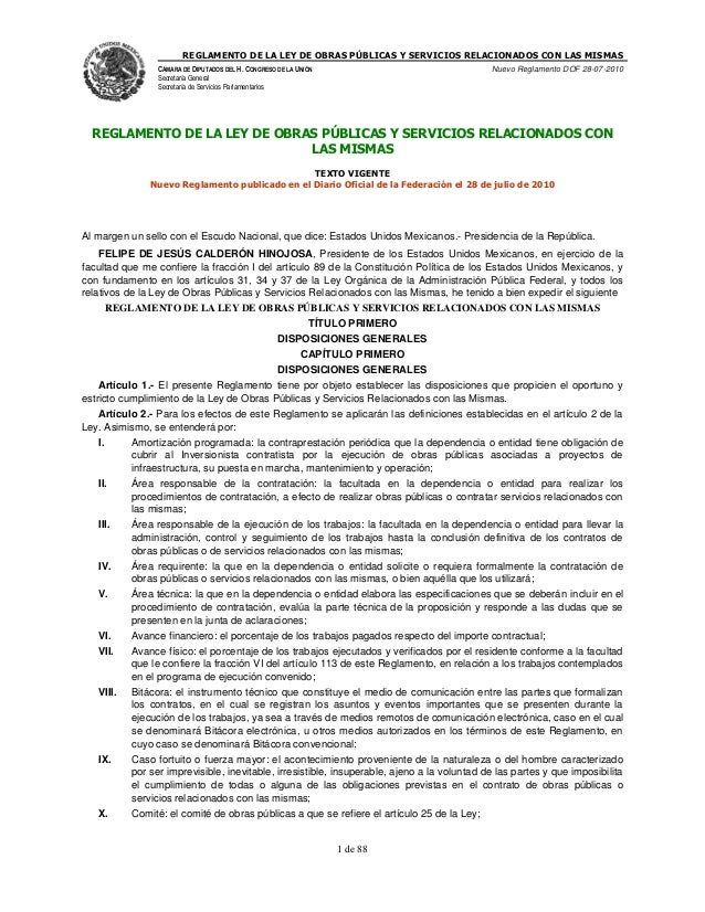 REGLAMENTO DE LA LEY DE OBRAS PÚBLICAS Y SERVICIOS RELACIONADOS CON LAS MISMAS  CÁMARA DE DIPUTADOS DEL H. CONGRESO DE LA ...