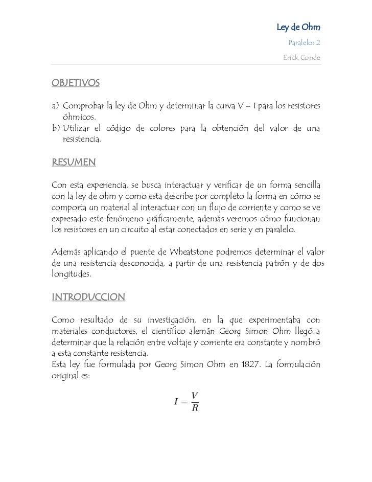 Ley de Ohm                                                                  Paralelo: 2                                   ...