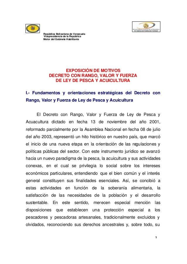 República Bolivariana de Venezuela Vicepresidencia de la República Motor del Gabinete Habilitante  EXPOSICIÓN DE MOTIVOS D...