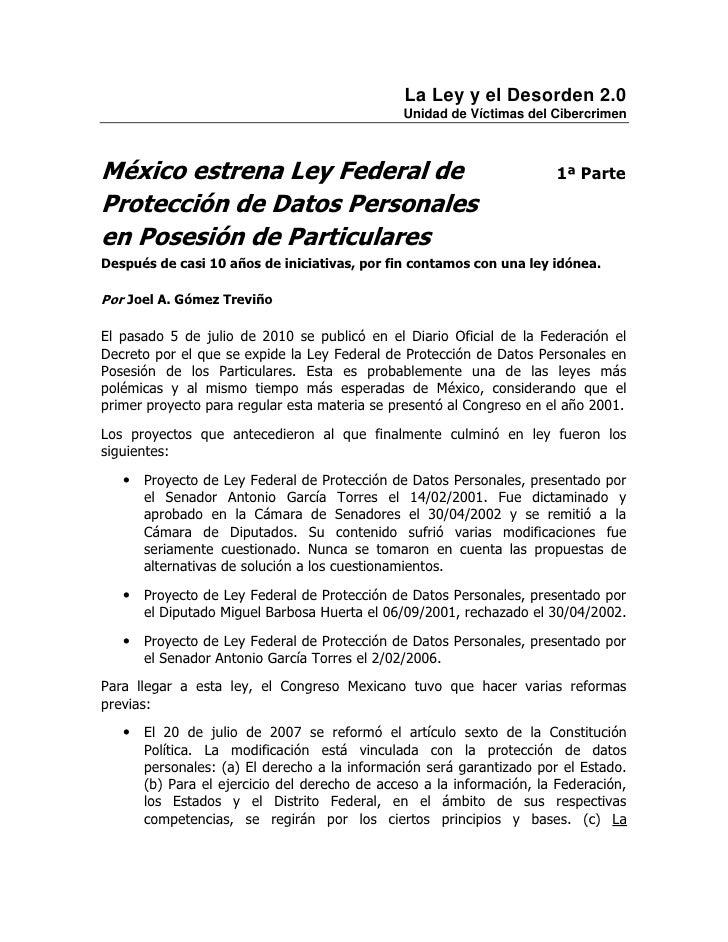 La Ley y el Desorden 2.0                                              Unidad de Víctimas del CibercrimenMéxico estrena Ley...