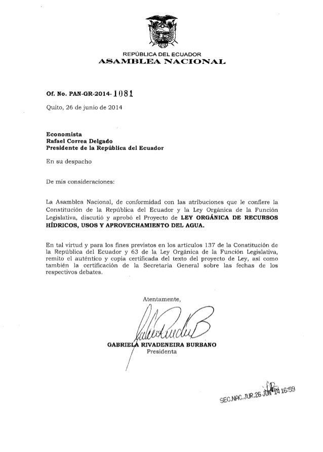 REPUBLICA DEL ECUADOR ASAIVf flf,EA NACI ONIAL of. No. PAN-GR-2o14- I 0 8l Quito, 26 de junio de 201,4 Economlsta Rafael C...