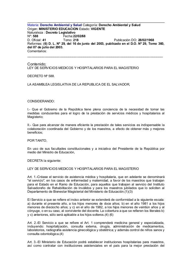 Materia: Derecho Ambiental y Salud Categoría: Derecho Ambiental y Salud Origen: MINISTERIO EDUCACION Estado: VIGENTE Natur...