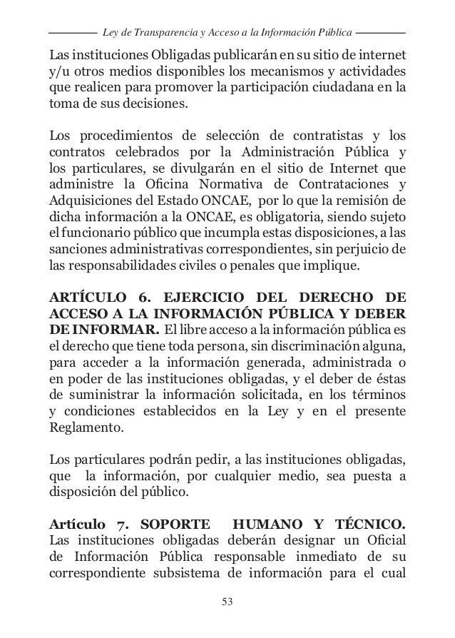 Ley de transparencia y acceso a la informaci n p blica for Oficina de transparencia y acceso ala informacion