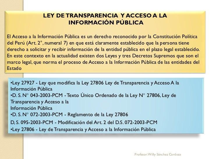 LEY DE TRANSPARENCIA Y ACCESO A LA                         INFORMACIÓN PÚBLICAEl Acceso a la Información Pública es un der...