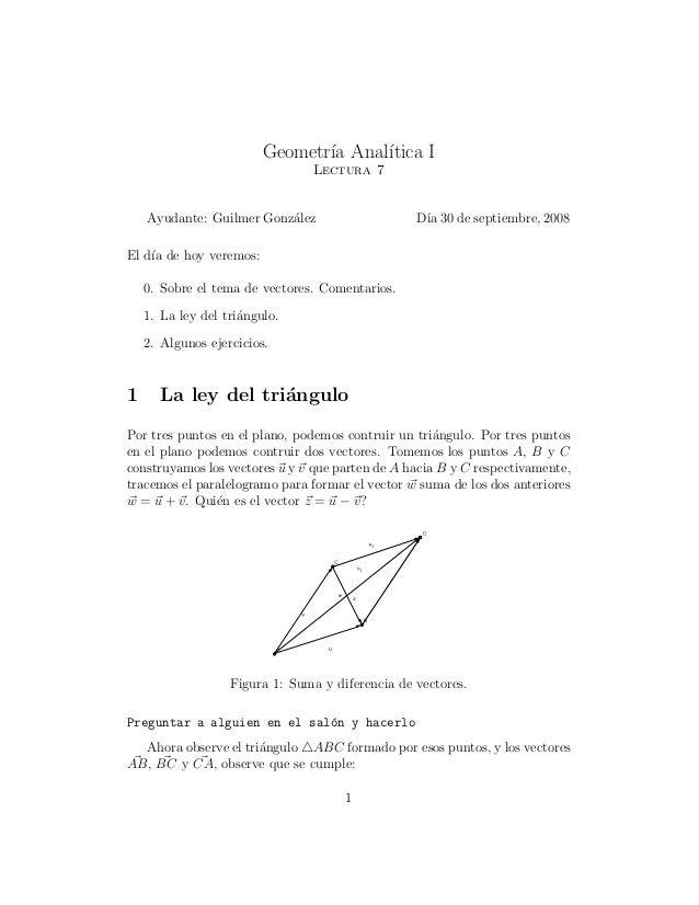 Geometr´ıa Anal´ıtica I Lectura 7 Ayudante: Guilmer Gonz´alez D´ıa 30 de septiembre, 2008 El d´ıa de hoy veremos: 0. Sobre...