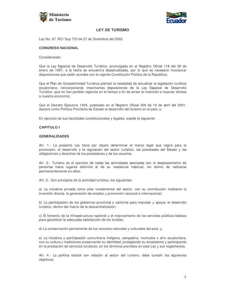 Ministerio       de Turismo                                        LEY DE TURISMOLey No. 97. RO/ Sup 733 de 27 de Diciembr...