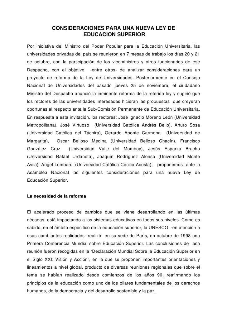 CONSIDERACIONES PARA UNA NUEVA LEY DE                       EDUCACION SUPERIORPor iniciativa del Ministro del Poder Popula...