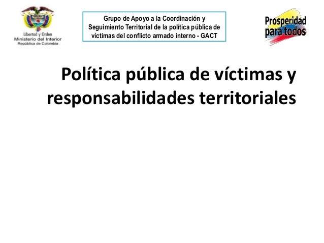 Grupo de Apoyo a la Coordinación y     Seguimiento Territorial de la política pública de      víctimas del conflicto armad...
