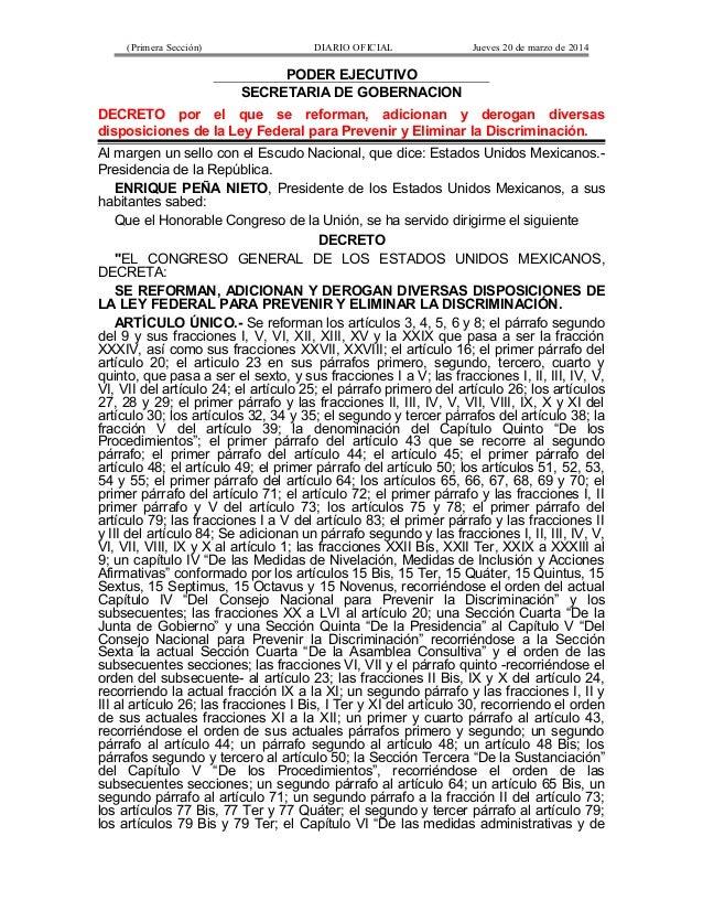 (Primera Sección) DIARIO OFICIAL Jueves 20 de marzo de 2014 PODER EJECUTIVO SECRETARIA DE GOBERNACION DECRETO por el que s...