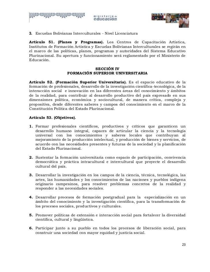3. Escuelas Bolivianas Interculturales - Nivel LicenciaturaArtículo 51. (Planes y Programas). Los Centros de Capacitación ...