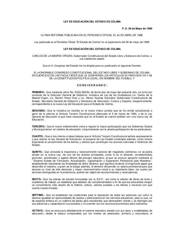 Ley Educacion Estado Colima