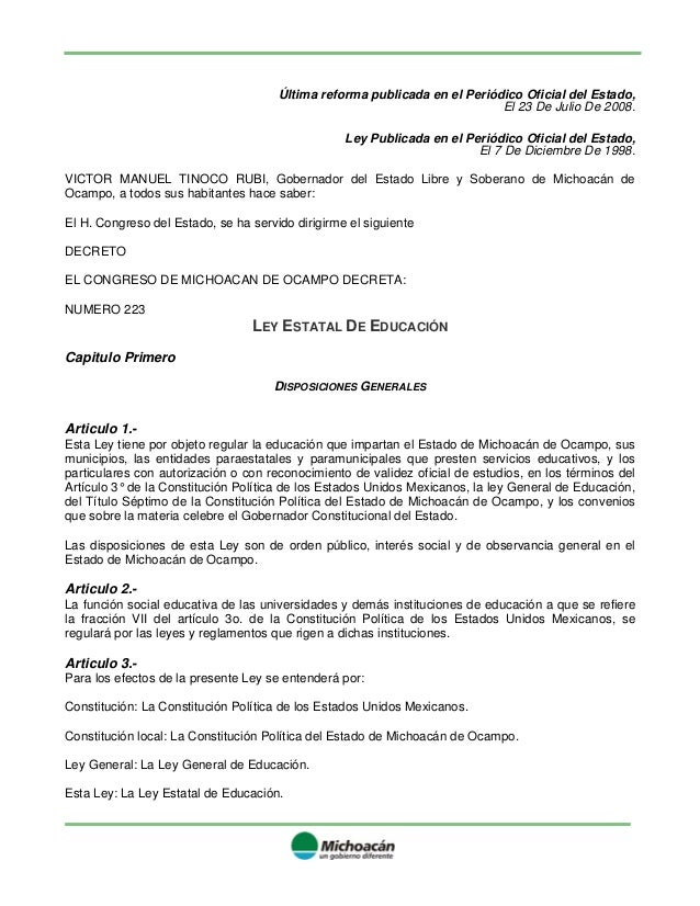 Ley Educacion Estado Michoacan